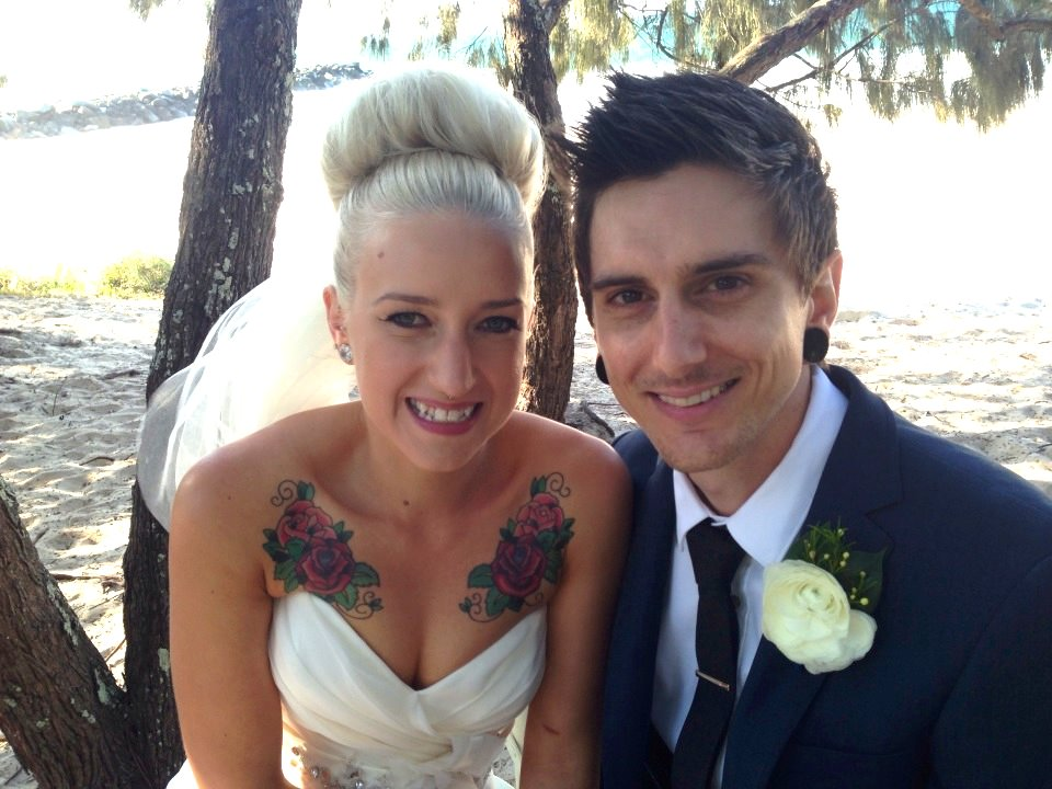 Emily and Drew Hidden Grove Suzanne Riley Marriage Celebrant tattoo bride and groom