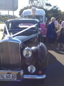 Suzanne Riley Marriage Celebrant and the icecream van and Berti the bentley